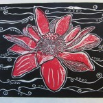 Devine Red Lotus Print