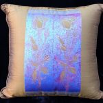 Stemmed Rose Blue on Bronze Pillow