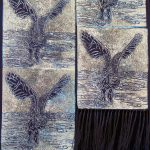 Night Owl Scarf:  Lino-cut print on 100% chiffon silk. (10″ x 56″)
