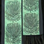 Wild Weeds Scarf:  Lino-cut print on black silk chiffon.  10″ x 56″